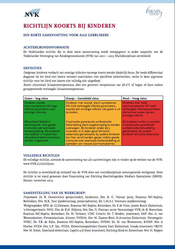 Koorts Bij Kinderen Samenvattingskaart Richtlijn